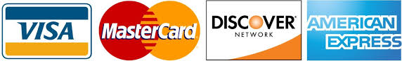 Accepted credit cards Visa, MasterCard, American Express, Discover